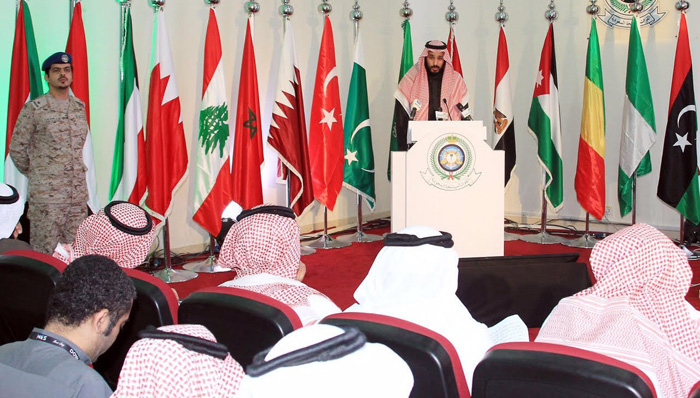 ولي ولي العهد السعودي وهو يعلن عن تشكيل تحالف إسلامي بقيادة سعودية ضد الإرهاب